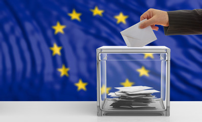 EU elections. Voter on an European Union flag background. 3d illustration