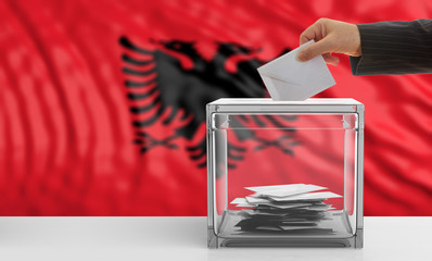 Albania elections. Voter on an Albanian flag background. 3d illustration