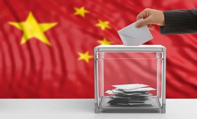 Voter on a China flag background. 3d illustration