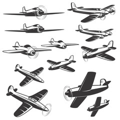 set of aircraft icons isolated on white background. Design elements for logo, emblem, sign. Vector illustration.