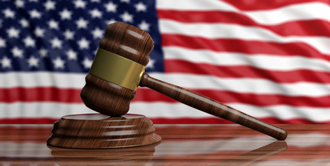 Auction gavel on USA flag background. 3d illustration