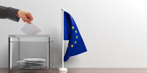 Ballot box and a small EU flag. 3d illustration