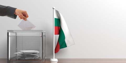 Ballot box and a small Bulgaria flag. 3d illustration