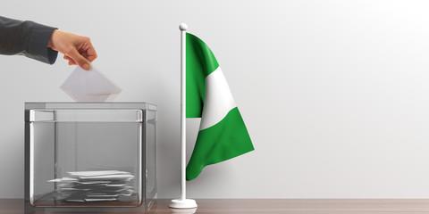 Ballot box and a small Nigeria flag. 3d illustration