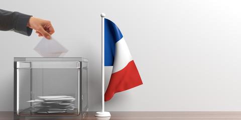 Ballot box and a small France flag. 3d illustration