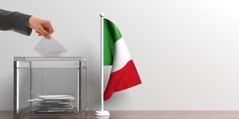 Ballot box and a small Italy flag. 3d illustration