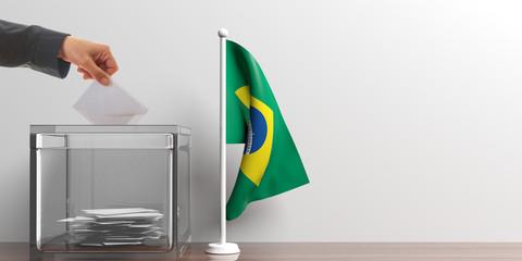 Ballot box and a small Brazil flag. 3d illustration