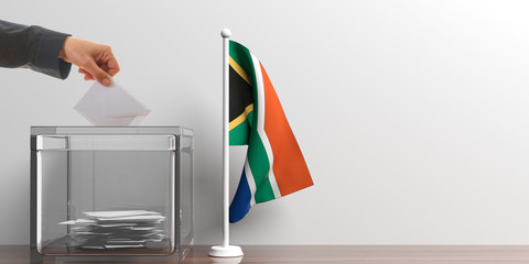 Ballot box and a small South Africa flag. 3d illustration