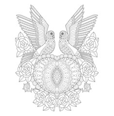 Two doves with heart and roses. Hand drawn sketch illustration for adult coloring book.