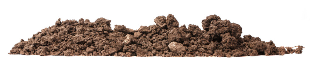 pile of soil for plants isolated on white background
