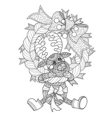 Little deer and the Christmas wreath. Hand drawn sketch illustration for adult coloring book.