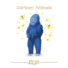 Toons series cartoon animals: gorilla & butterflies