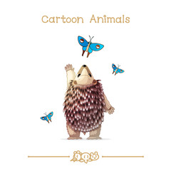 Toons series cartoon animals: hedgehog and butterflies