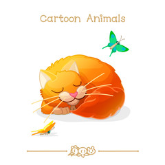 Toons series cartoon animals: sleeping cat & butterfly