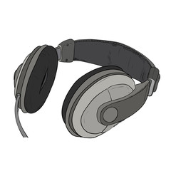 Vector color sketch of headphones