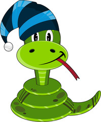 Cute Cartoon Snake in Wooly Hat