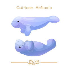 Toons series cartoon animals: Couple of manatees