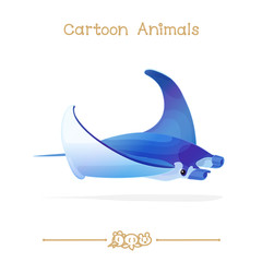 Toons series cartoon animals: manta ray