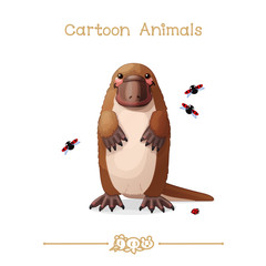 Toons series cartoon animals: platypus & ladybugs