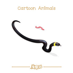 Toons series cartoon animals: grass snake & worm