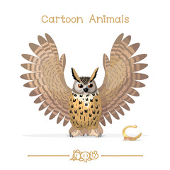Toons series cartoon animals: eagle-owl & treehopper