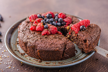 Brownies cake with chilli and berries
