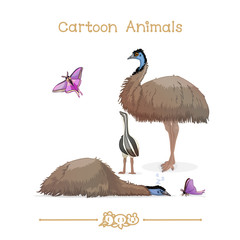 Toons series cartoon animals: emus & butterfly