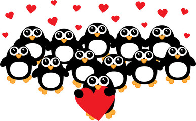 a crowd of penguins love