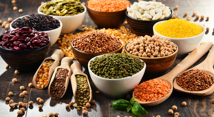 Composition with variety of vegetarian food ingredients