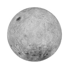 full far side of the moon  isolated on white background (3d illustration)