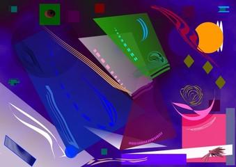 sfondo astratto blu scuro , forme curve e geometriche verde  , lilla
