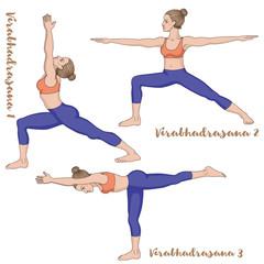 Women silhouette. Warrior 1, 2 ,3 yoga pose. Virabhadrasana 1, 2 ,3
