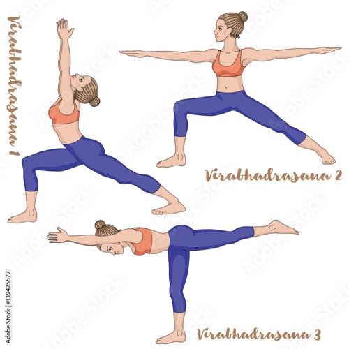 Women Silhouette Warrior 1 2 3 Yoga Pose Virabhadrasana