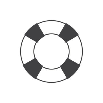 Simple flat rescue wheel icon, grayscale on white background