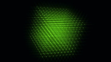 0:15 3d Cube Of Green Glowing Particles Rotating On A Diagonal On A Black  Background.