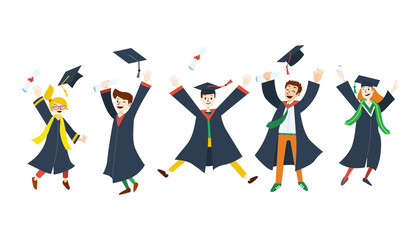 Flat design, College students celebrate graduation