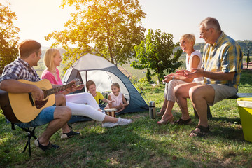 Family camping in the park.