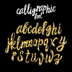 VECTOR calligraphic font, gold dust texture script