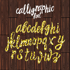 VECTOR calligraphic font, gold dust texture script on brown wood.