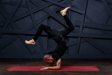 Man practicing advanced yoga. A series of yoga poses. Sport concept