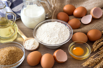 Basic ingredients for baking.