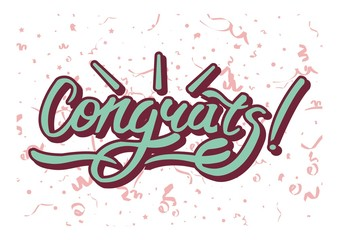 Congrats inscription on background with festive elements. Congratulations text