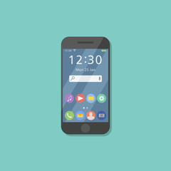 Black smartphone isolated on background. Mobile phone with user interface on screen. Modern smart device. Flat style icon. Vector illustration.