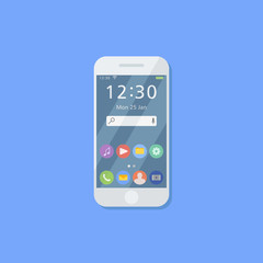 White smartphone isolated on blue background. Mobile phone with user interface on screen. Flat style icon. Vector illustration.