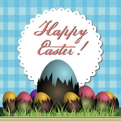 Colorful illustration with colored Easter eggs and the text Happy Easter written above with handwritten letters