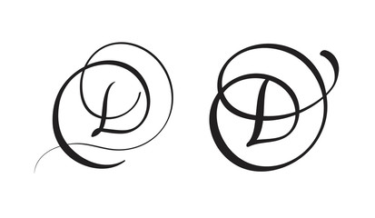 Art Calligraphy Letter D With Flourish Of Vintage Decorative Whorls Vector Illustration EPS10