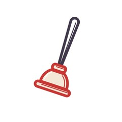 Toilet rubber plunger red cup on white background. Vector illustration