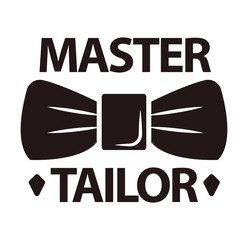 Master tailor logotype with man butterfly tie on white