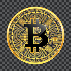 Crypto currency golden coin with black lackered bitcoin symbol on obverse isolated on transparent background. Vector illustration. Use for logos, print products, page and web decor or other design.