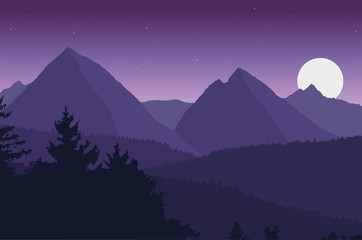 Photo sur Plexiglas Aubergine View of the mountain landscape with its forests and hills under a purple sky with moon and stars - vector
